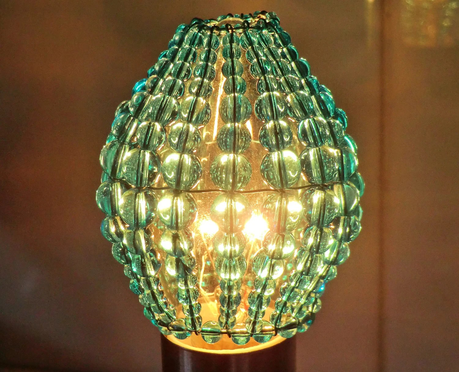 Crystal Chandelier Inspired Glass Beaded Lightbulb Candle
