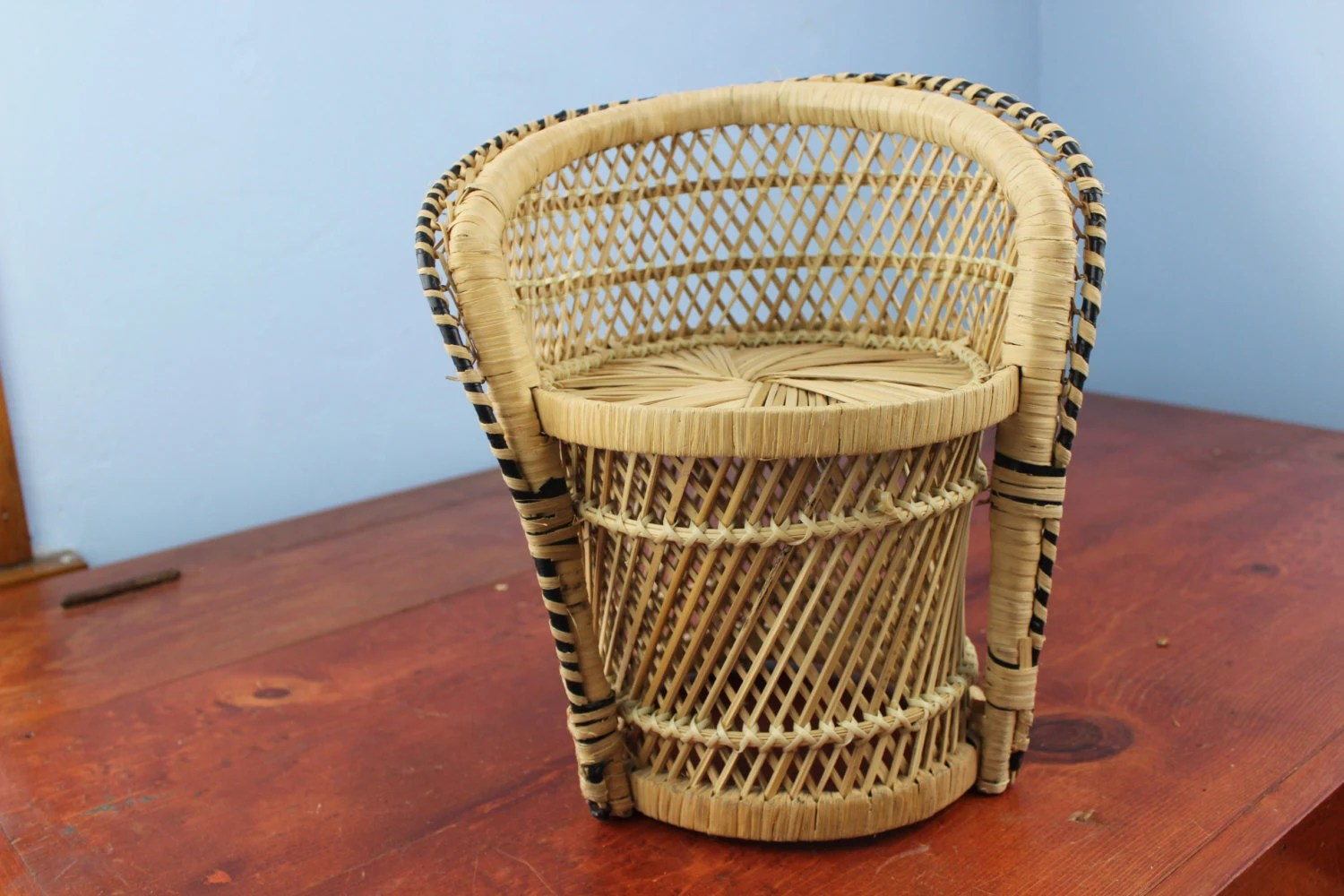 fan back wicker chair cheap patio chairs vintage doll peacock rattan