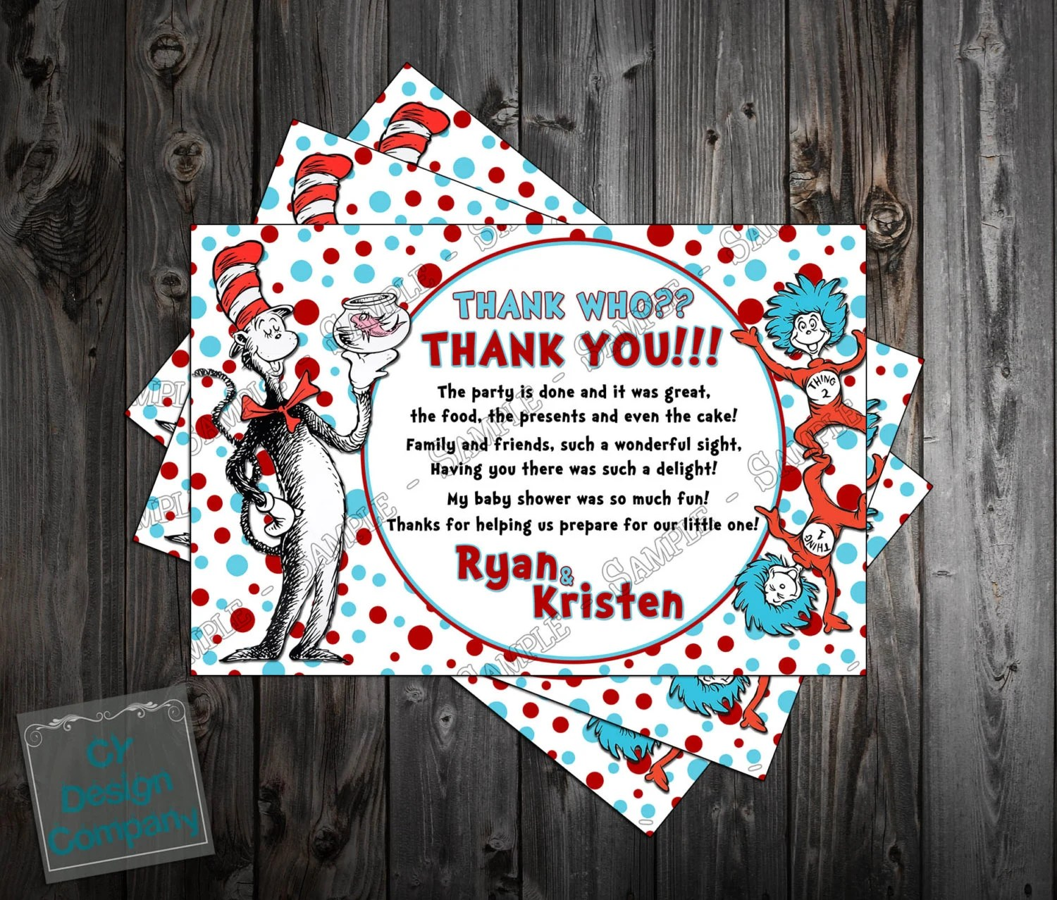 Dr Seuss Cat In The Hat Baby Shower Thank You Card Printable