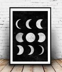 Moon Print Moon Phases Black and White Moon Wall Art Moon