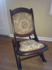 wooden hand carved antique rocking chair embroidered seat and