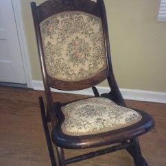 Antique Wooden Rocking Chairs Grandin Road Chair Hand Carved Embroidered Seat And