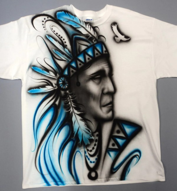 Airbrushed Native American T Shirt Hand Painted Airbrush