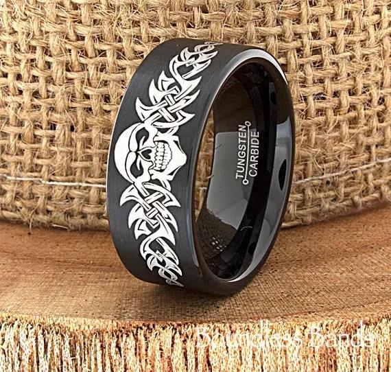 Skull Wedding Band Skull Ring Biker Wedding Band By