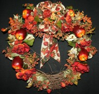 Fall Wreath Red Apples and Rust Roses Wreath Thanksgiving