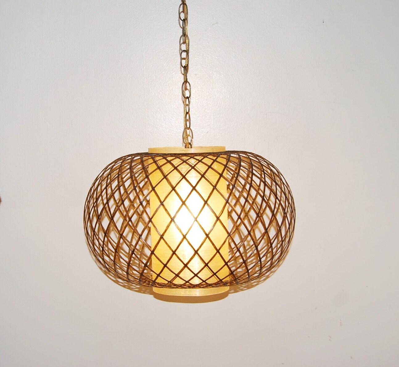 Foyer Chandelier Juice : Vintage mid century swag fiberglass globe lamp large