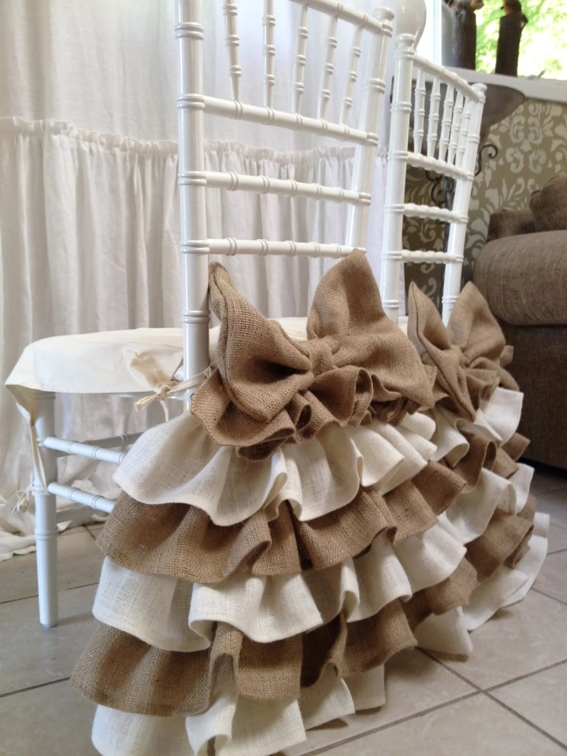 burlap chair covers for folding chairs salon sale ruffled cover