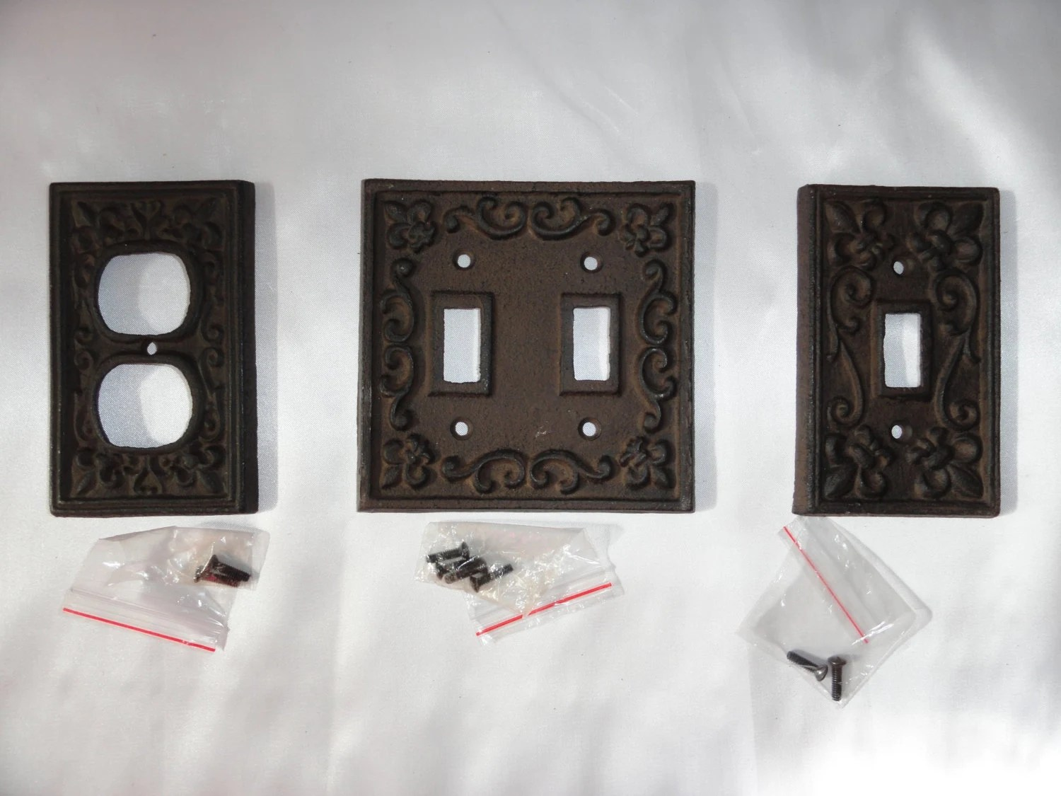 Cast Iron Switch Plate Set Of 3 Bronze Switch Plate Shabby