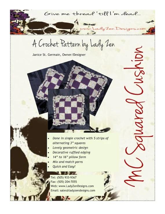 Crochet Pattern - Pillow Cushion Cover - Checkerboard