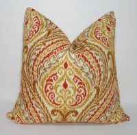 OVERSTOCK SALE Decorative Pillow Cover Floral Ikat Print Tan