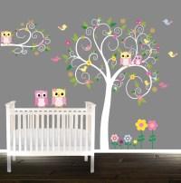 Floral tree owl decal Nursery Wall Stickers Owl tree Nursery