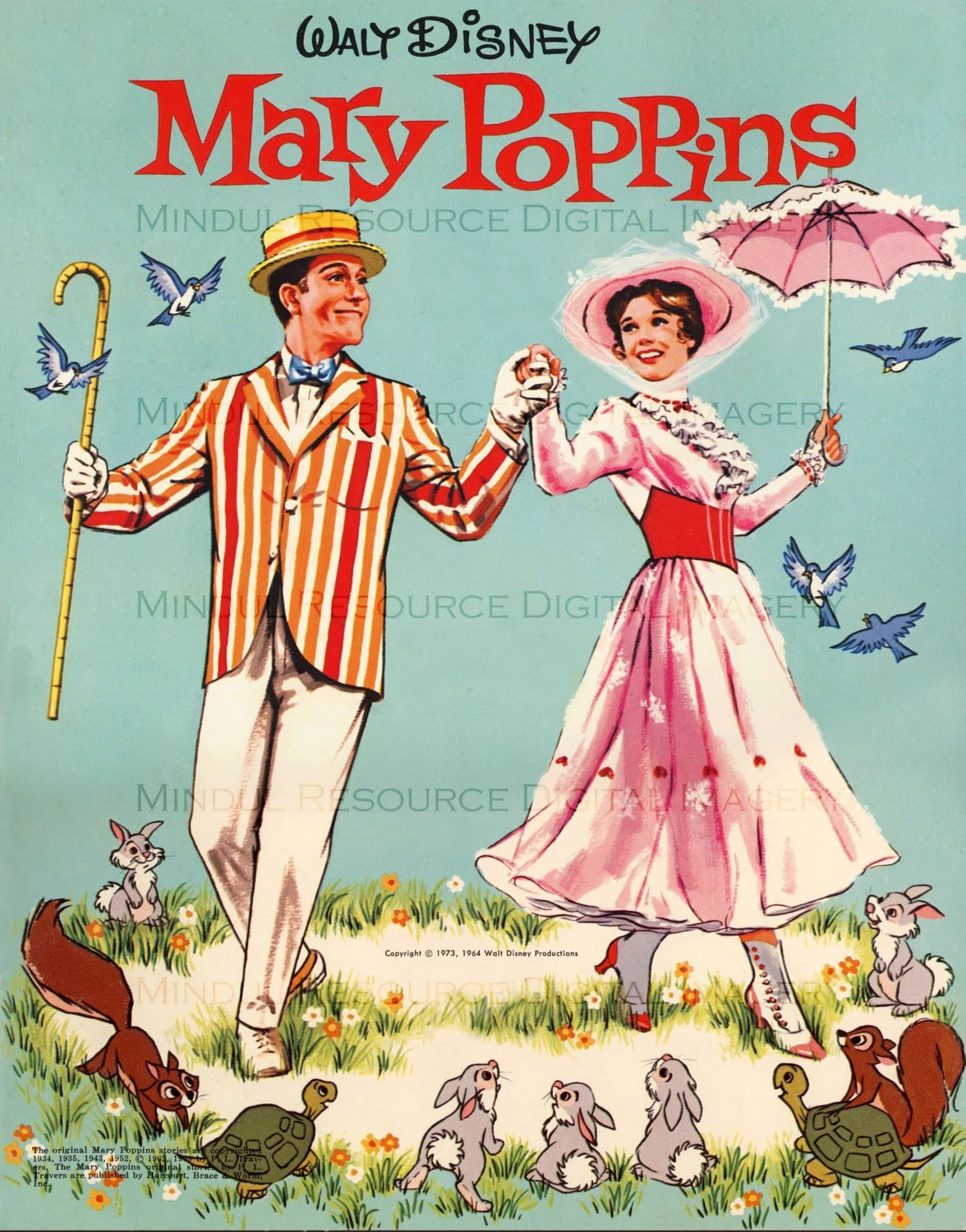 Mary Poppins Retro Art Print Remastered Paper Doll Cover