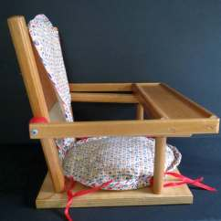 Wooden High Chair Cushion Arm Dining Chairs Vintage Wood Doll Quilted And Cover