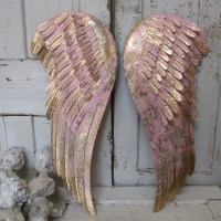 Painted angel wings wall decor pink and gold metal shabby