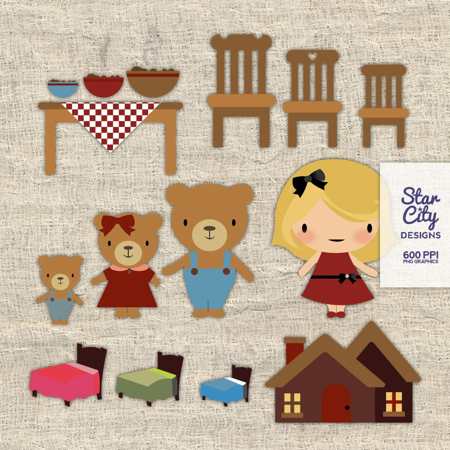 Goldilocks And The Three Bears Clip Art For By Starcitydesigns