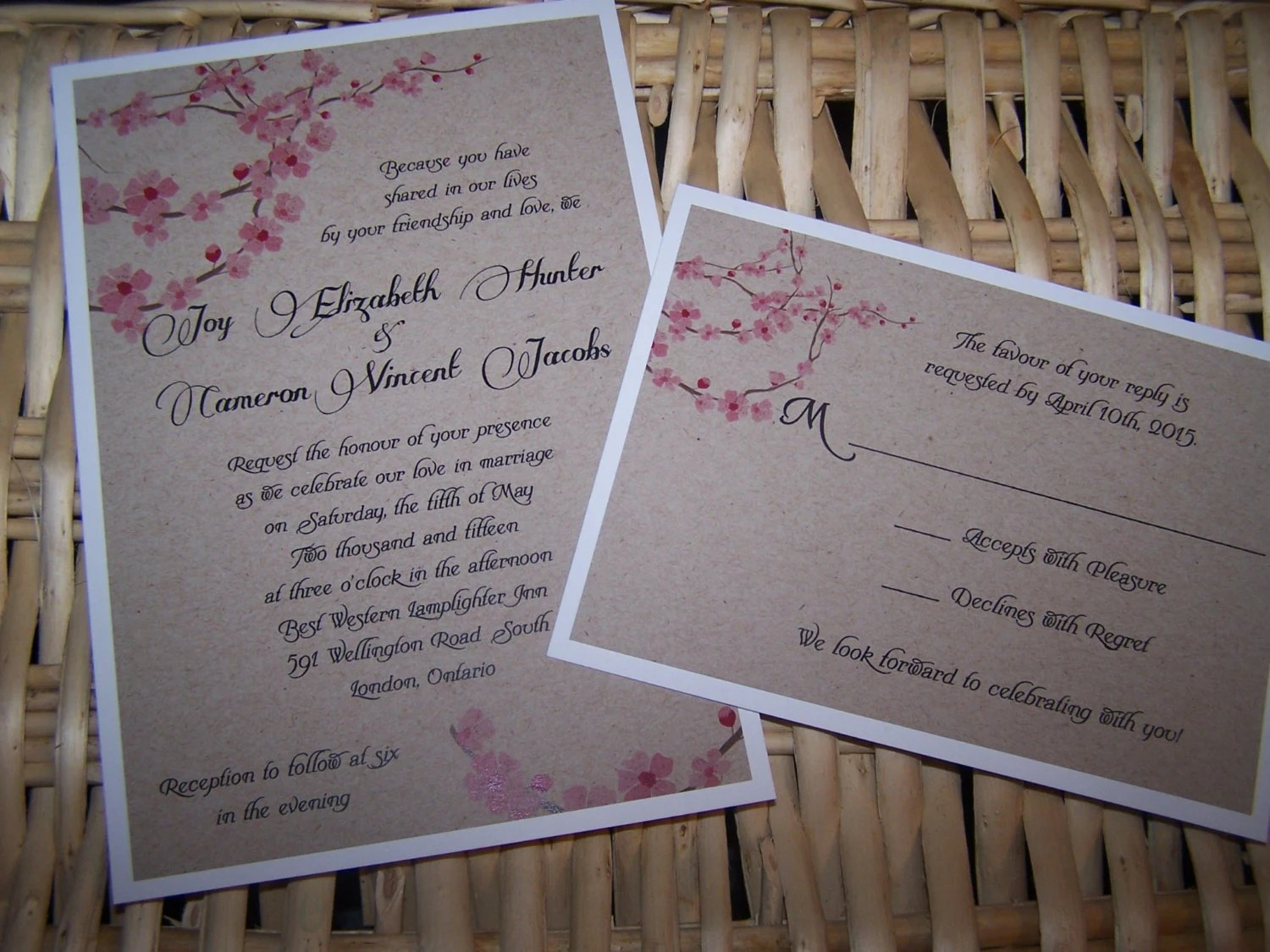 Cardstock Paper For Wedding Invitations: Rustic Wedding Invitation With Cherry Blossom Flowers