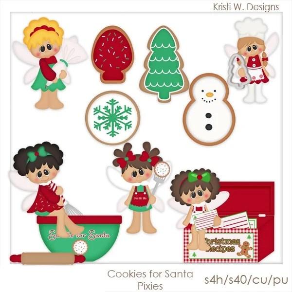 cookies santa pixies clip art