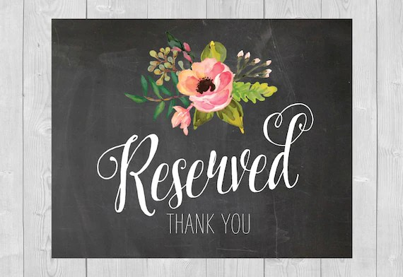Items similar to Printable Reserved Sign  Chalkboard Floral Flowers Pink Watercolor Wedding