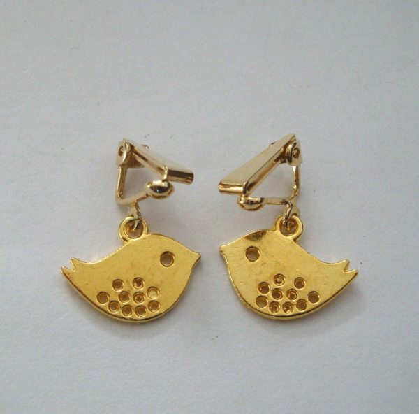 Bird Clip Earrings Gold Charms Vintage Inspired Cute
