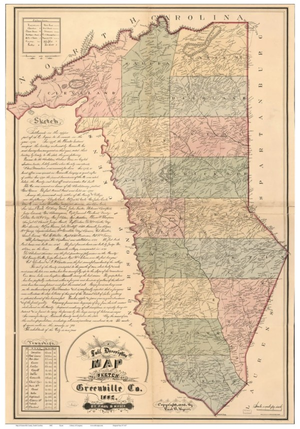 Greenville County South Carolina 1882 Old Wall Map With
