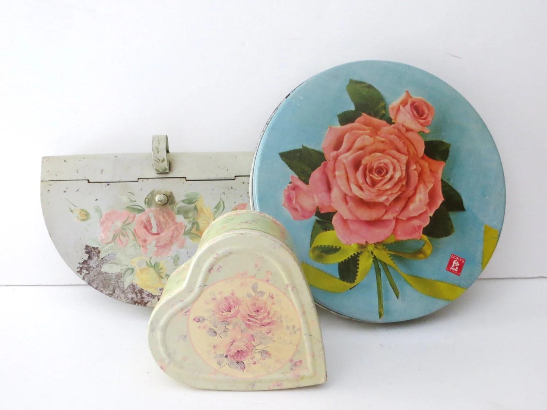 vintage set of three metal tins. floral tin boxes. Lofts rose candy tin. Heart tin. pastel toleware tin silent butler. keepsake boxes – Haute Juice