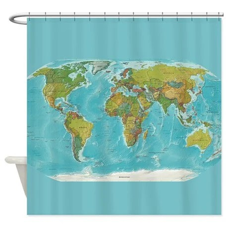 World Map Shower Curtain Modern Colorful Topographic