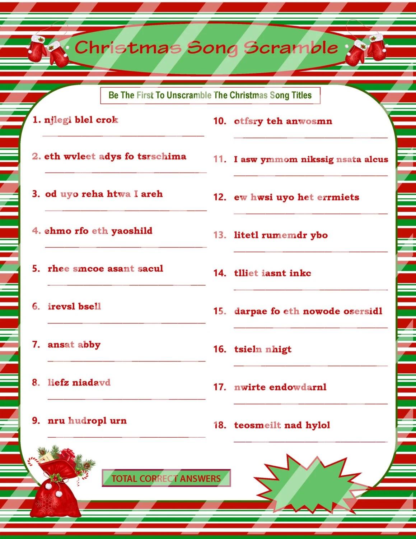 Christmas Scramble Christmas Song Game Printable Christmas