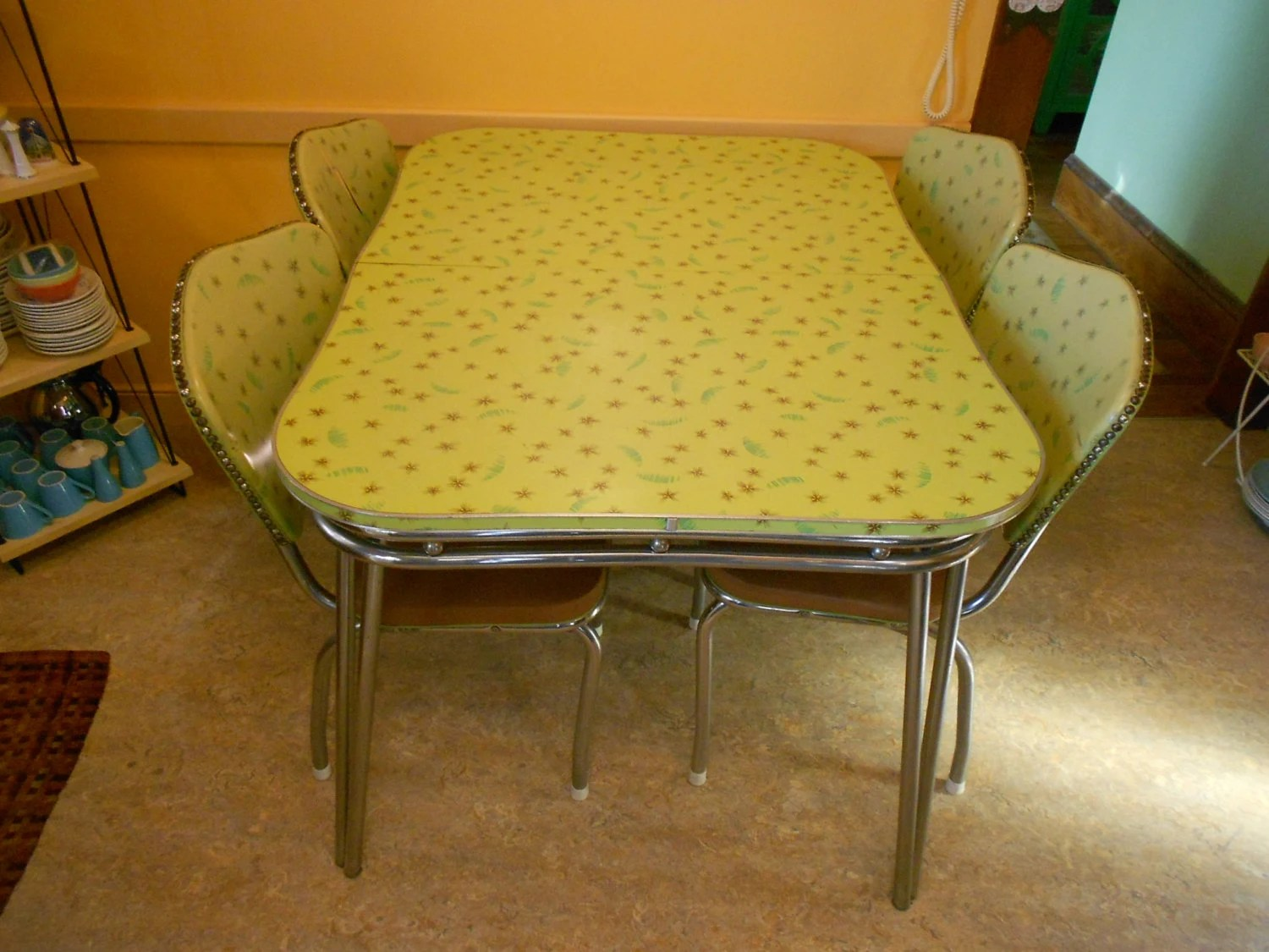 1950 s yellow formica table and chairs nautical desk chair vintage 39s kitchen set retro chrome