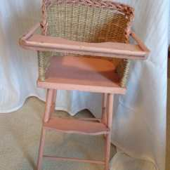 Pink High Chairs Yellow Bean Bag Chair Vintage Wicker Doll Wood By