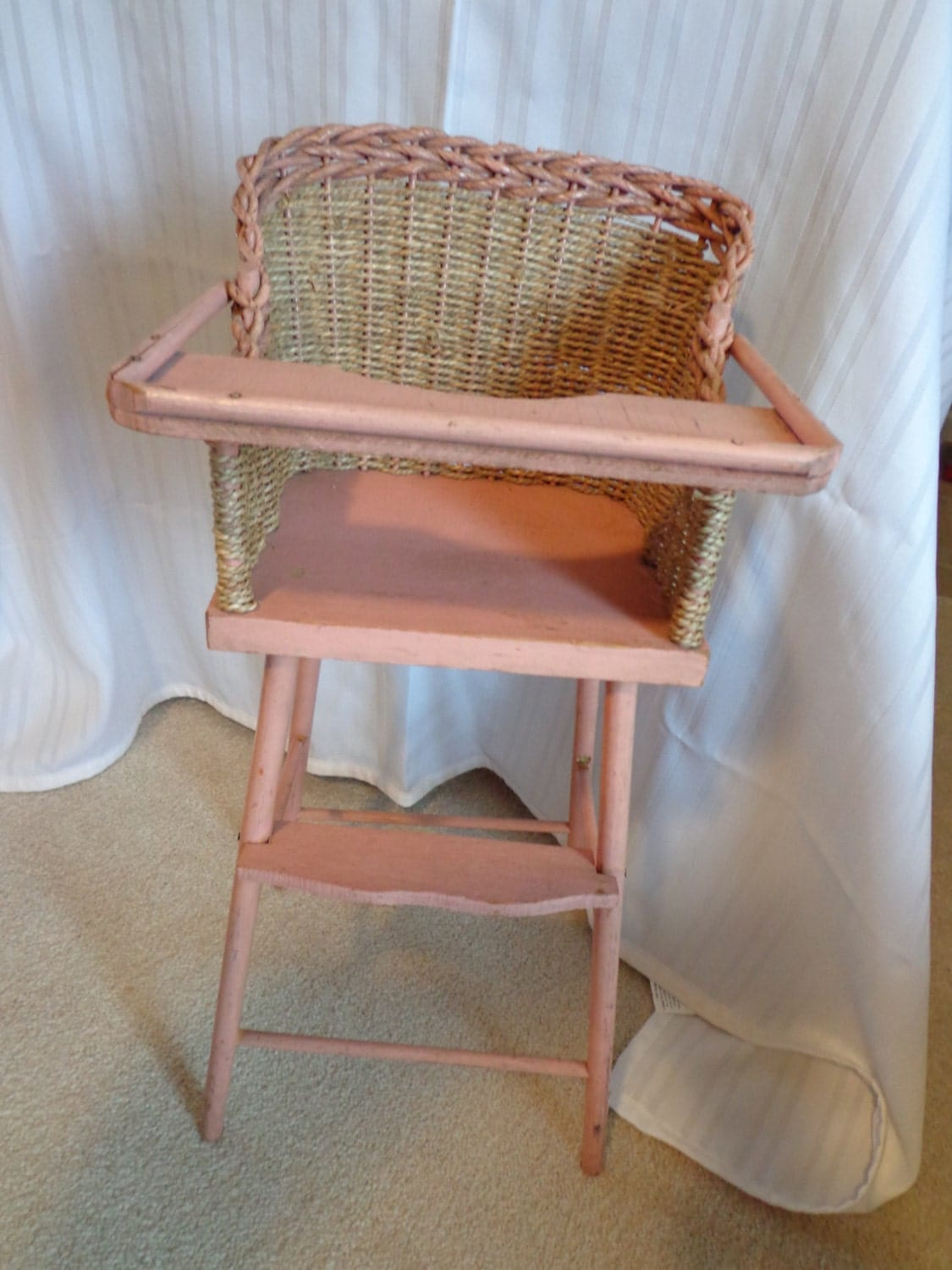 pink high chairs chair covers outdoor vintage wicker doll wood by