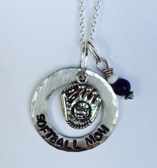 Personalized Hand Stamped Softball Mom Necklace