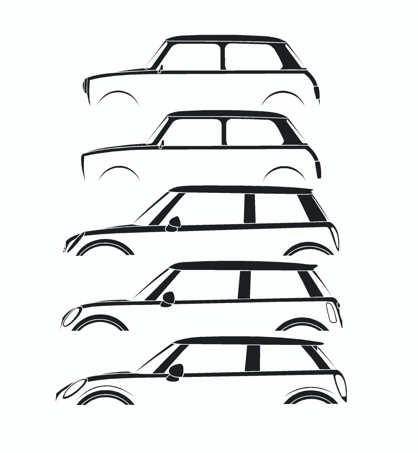 car silhouette history stickers for Mini Cooper classic and