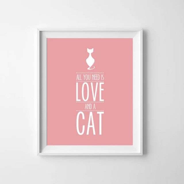 "Cat Printable ""All You Need is Love and a cat"", Pink print cat, Pink printable art, Cat Wall Art, Printable Home decor, Fall Art Printable"
