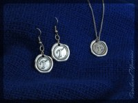 Letter T Earrings Letter T Necklace Wax Seal Jewelry