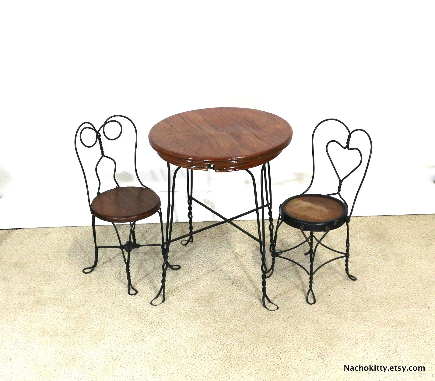 ice cream table and chairs dining chair styles chart 1940s parlor childs set wood by