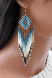 Seed Bead Quill Earrings Swarovski and by CreationsbyWhiteWolf
