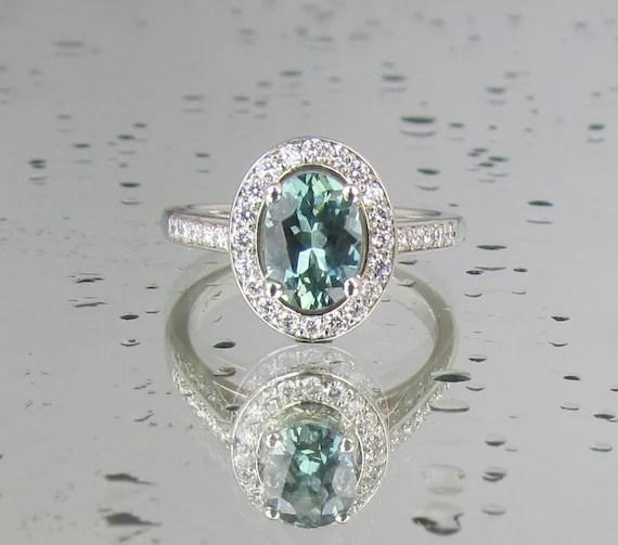 Blue Green Sapphire Engagement Ring in 14k White Gold Diamond