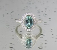 Blue Green Sapphire Engagement Ring in 14k White Gold Diamond