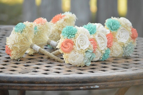 Small Wedding Bouquet Ivory Mint Coral Sola By
