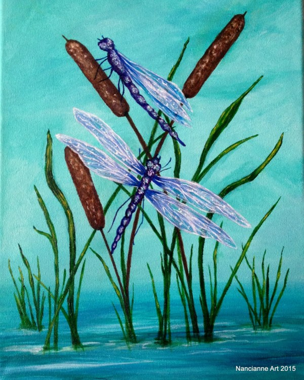 Dragonfly Art Blue Cattails Original Acrylic Painting