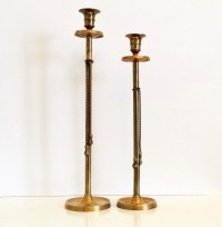 Vintage Tall Brass Candlestick Holders / Gold by ...