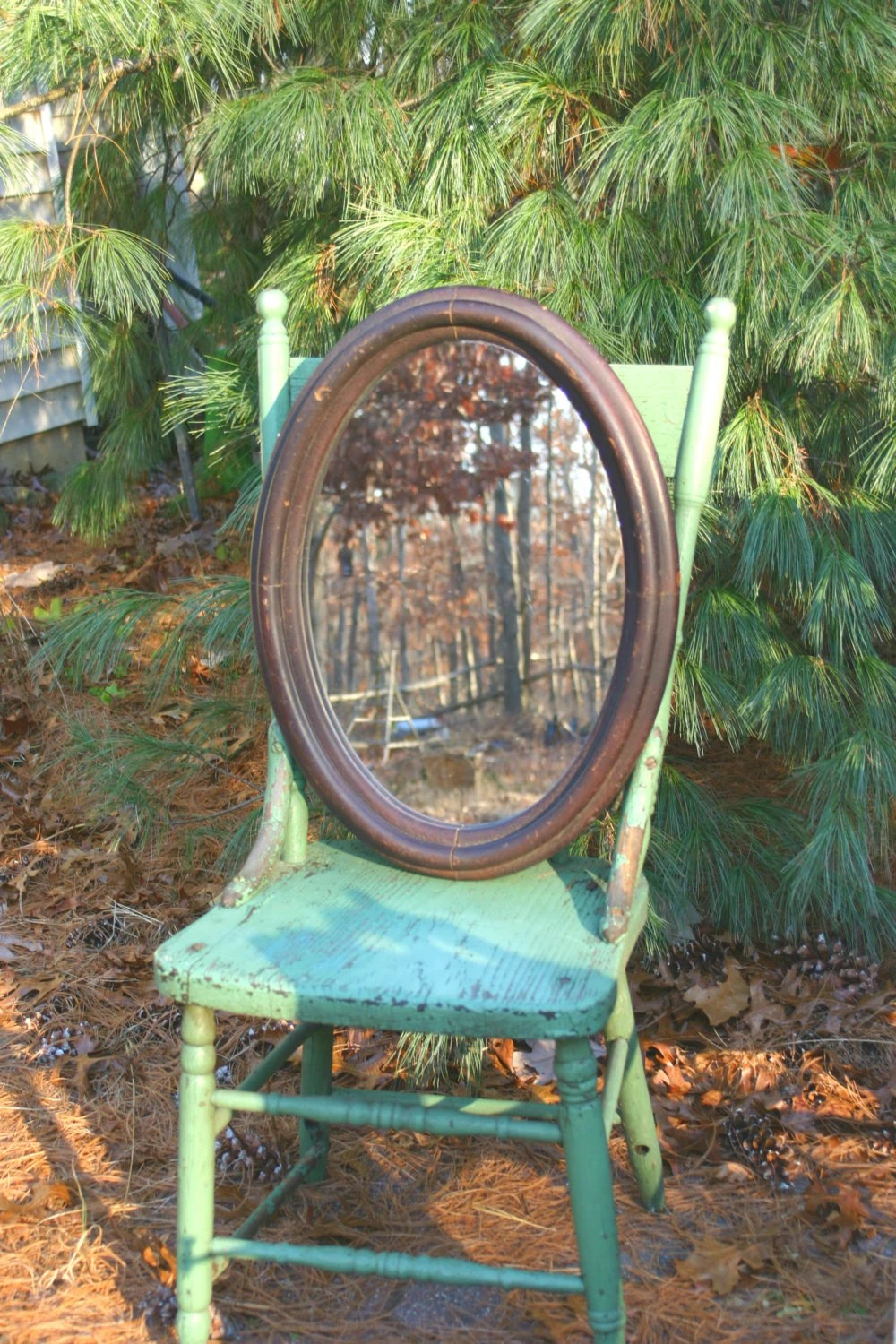 Antique Oval Wood Mirror Wall Hanging 15 X 21 Home Decor