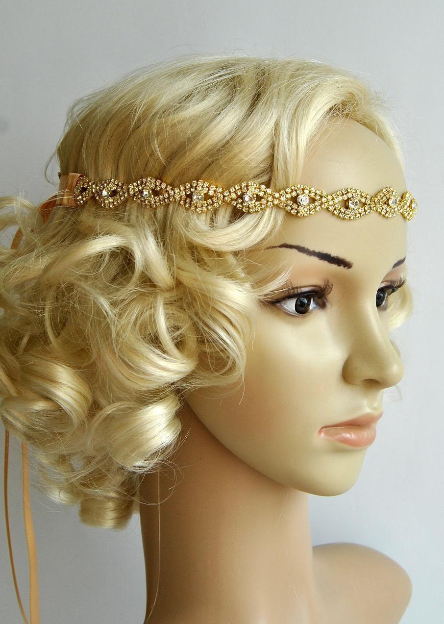 Gold Rhinestone Headband Great Gatsby Headband Crystal