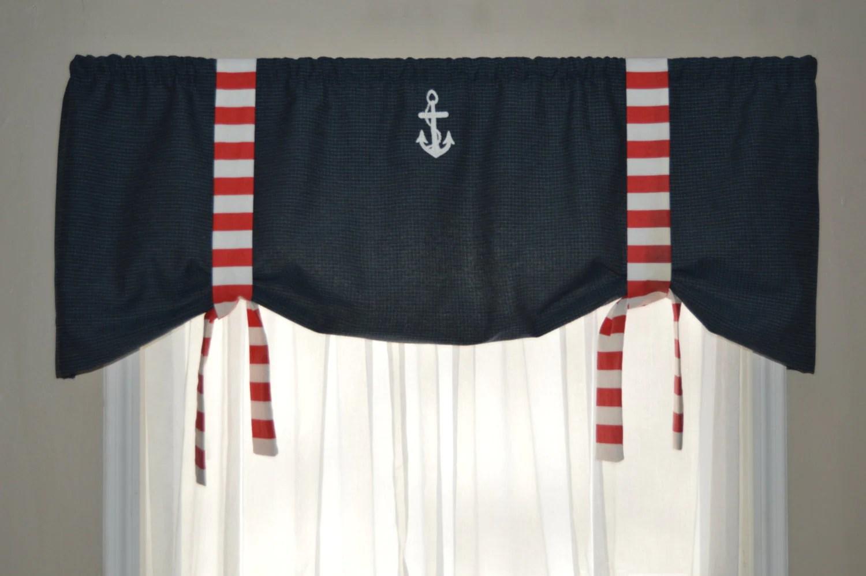 Window Valance Nautical Valance Tie Up Valance Red White