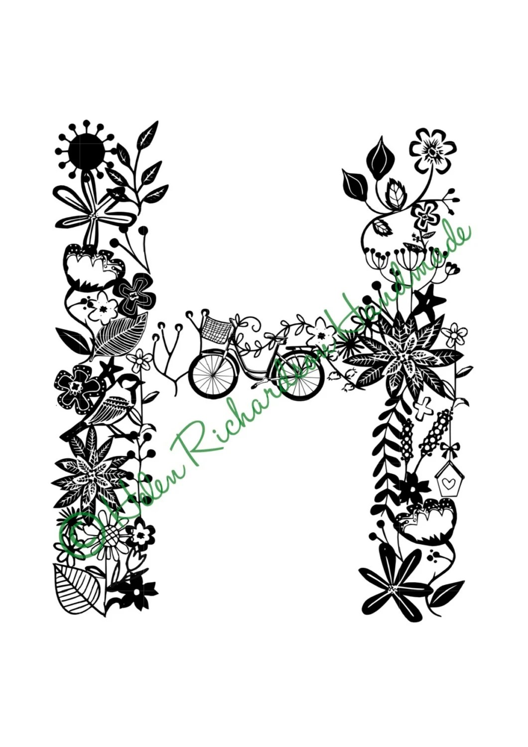 Floral Alphabet Letter H Paper Cutting Template For Personal