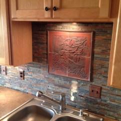 Craftsman Kitchen Backsplash Global Knives Style Carved Tile Woodland Scene For
