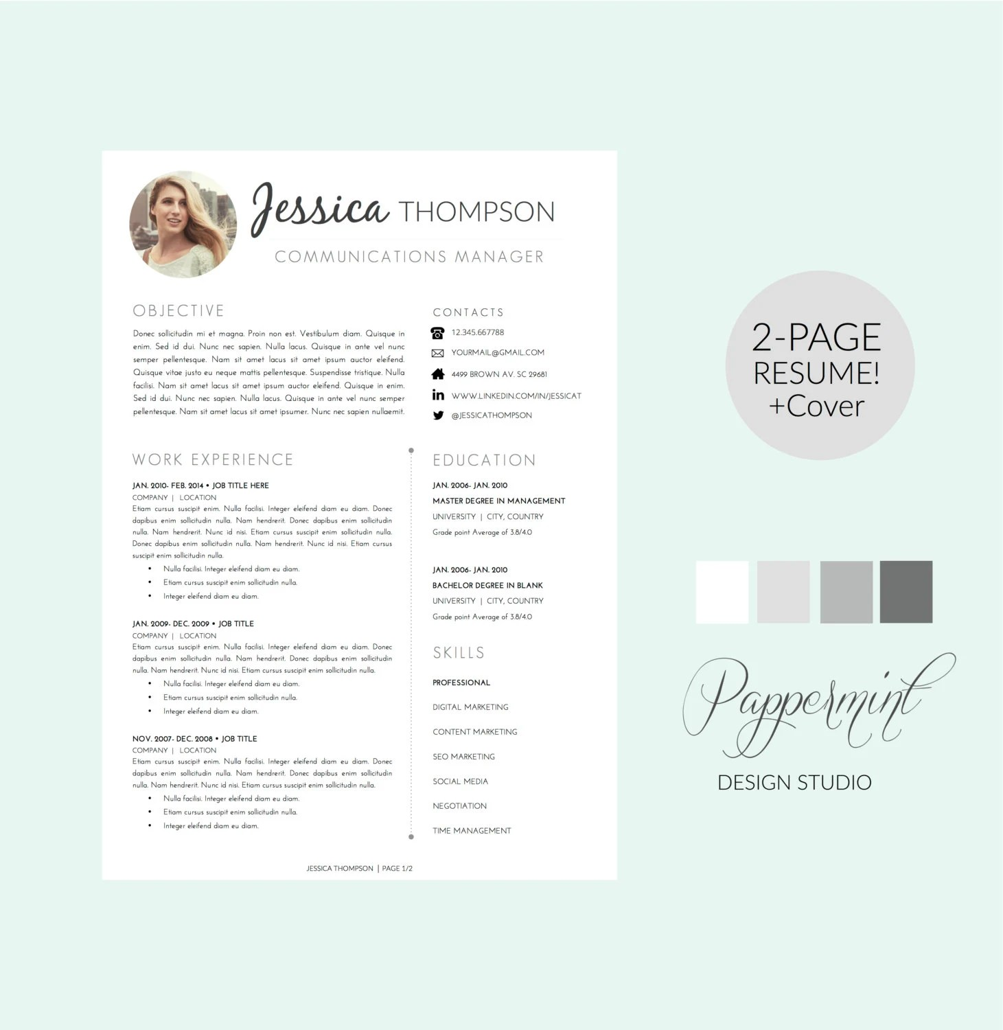 2 Page Resume Sample Resume Template 1 2 Or 3 Pages With Cover Letter And Photo