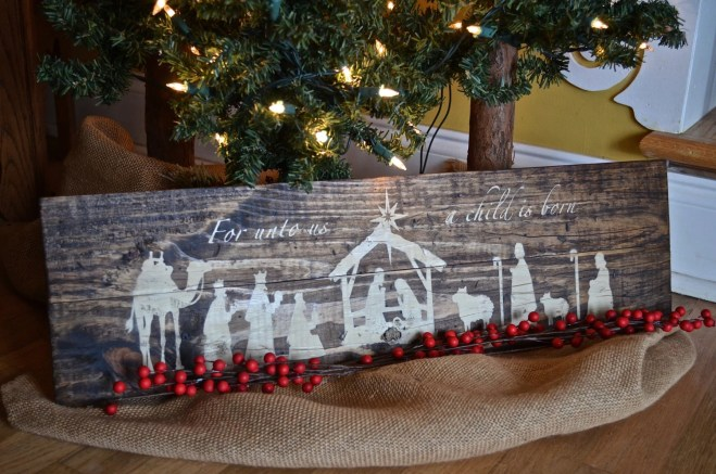 Rustic Wooden Nativity Sign, Christmas Decor, Rustic Manger Scene, Rustic Christmas Decor, Nativity Scene