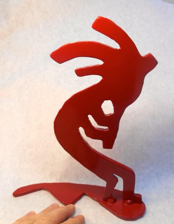 Metal Kokopelli Silhouette Sculpture Fireplace Mantel