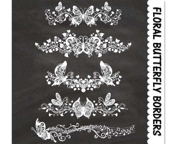 decorative floral butterfly borders